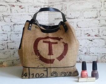 handbag, tote bag coffee beans and leather