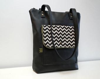 Bag Multi Pocket black print chevron khaki