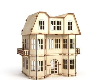 Large Victorian Dollhouse, doll house, wood dollhouse, vintage dollhouse, dollhouse miniatures, 1:12 Scale Doll, Three-story Dollhouse