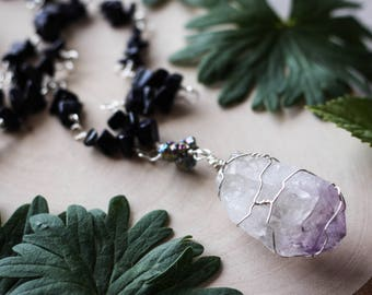 Wire Wrapped Amethyst Necklace with Goldstone Handmade Silver Chain // Rainbow, Crystal, Bohemian, Gypsy