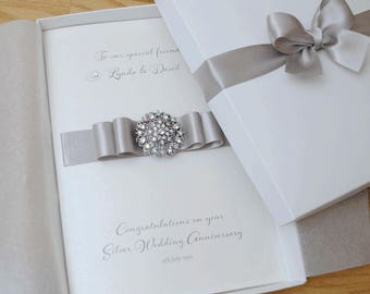 LARGE A5 Luxury Silver Wedding Anniversary Card //  25th Wedding Anniversary Card *// Gift Boxed Card