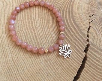 Sunstone, and gold plated lotus gems Bracelet: