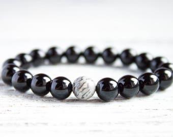 Black Mens Bracelet Guy Bracelet Black Beads Bracelet Boyfriend Bracelet Brother Bracelet One Gray Bead Mens Trendy Bracelet Christmas Gift