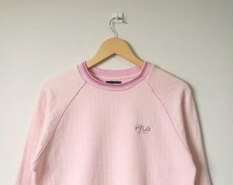 On Sale! Fila Intimo Jumper Pullover Sweatshirt Fila Biella Italia Fila Big Logo Spell Out Large Size Pink Colour