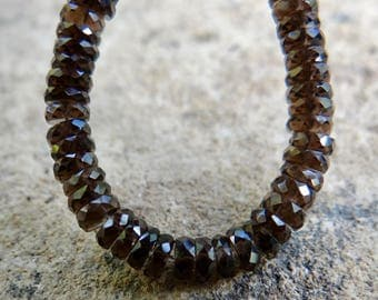 AAA Smoky Quartz | Faceted Tire Tyre Rondelles | 3.5-4x1.3mm | Sold in Sets of 10 & Sets of 20 Pieces