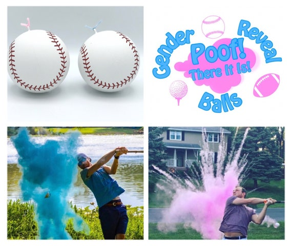 XL BASEBALLS 2x The Powder Gender Reveal Balls Pack (Custom Combinations and Styles) by Poof There It Is!