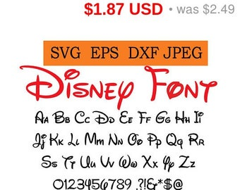 Sale 25%  - Walt Disney Font in SVG / Eps / Dxf / Jpg files INSTANT DOWNLOAD!
