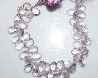 """50% OFF Natural Pink Amethyst Faceted Pear Shape Beads - Pink Amethyst Pear Shape Briolette , 11x8 - 13.5x9 mm , 7.5"""" , BL1484"""