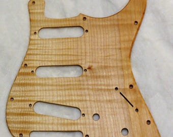 Flamed Maple Solid Wood Stratocaster Style Pickguard #407