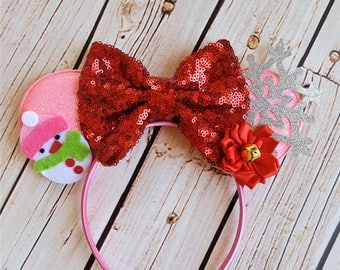 Christmas Pink Minnie Mouse Ears Headband,Minnie Ears,Minnie Headband,Girls Minnie Mouse headband,Baby Headband,Mickey Mouse,Disney Vacation