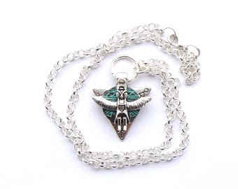 Tribal Owl Totem / Silver Necklace / Black Blue Patina Copper / 20 Inch Rolo Chain / Silver Arrow Pendant / Rustic / Handmade Necklace