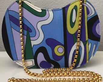 Vintage Victor Costa psychadelic mod contemporary print fabric gold chain kidney bean shaped shoulderbag handbag pursebag