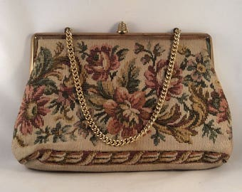 Mid Century Verdi Tapestry Purse with Gold Colored Chain Strap - 1950's