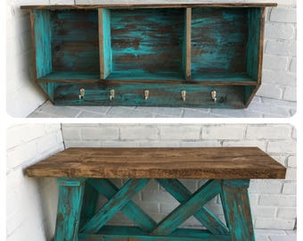 Rustic Entryway Hall Tree Coat Rack With Bench