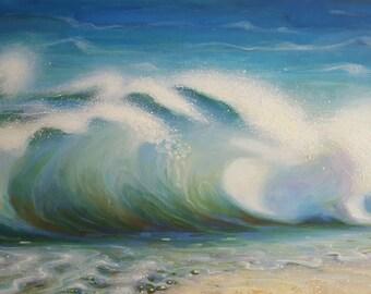 Large Waves Original oil art  Sea oil painting.  Home art decor 61×91cm by  InterArtShop