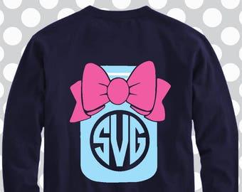 Mason jar svg, Southern monogram svg, Southern Girl svg, monogram frame svg, svg, sweet tea svg, Preppy Monogram SVG, Southern svg, bow svg