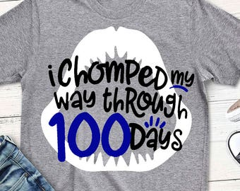 100th day of school svg, 100 days svg, shark svg, school, SVG, DXF, EPS, 100 days of school, chomped my way through 100 days svg, 100th