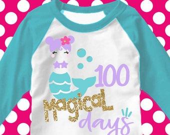 100 days svg, 100th day of school svg, mermaid svg, 100 magical days svg, school, 100 days, SVG, DXF, EPS, 100 days shirt, girls svg, cutter