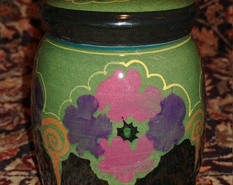 Early 1900's Period Art Nouveau Gouda High Gloss Pottery Storage Jar with Lid