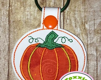 Pumpkin Applique Snap Tab Design