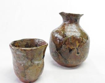 Handmade Sake Set, Tokkuri, Cups, Sake bottle, Ochoko, Smooth surface