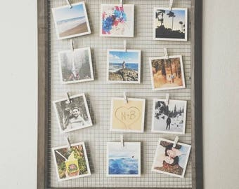 Rustic Chicken Wire Photo Display