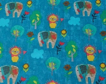 Elephants and Lions on teal background