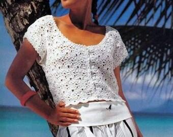 Ladies summer jacket in white crochet / custom