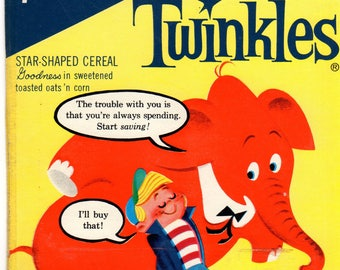 1960's Twinkles General Mills Cereal Box Book TWINKLES and The Money Trees