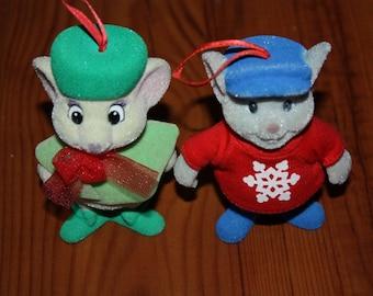 Vintage Disney McDonalds The Rescuer's Bernard & Bianca Flocked X-mas Ornaments