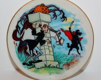 Disney Collection Disney's Alphabet Miniature Plate Letter I Ichabod Crane 1980's Headless Horseman