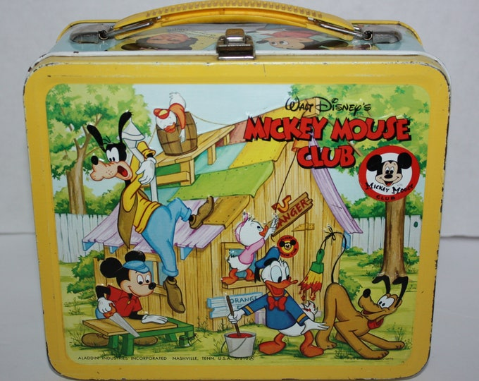 Vintage Walt Disney's Mickey Mouse Club Yellow Metal Lunch Box NO Thermos Very Good Condition 1970's