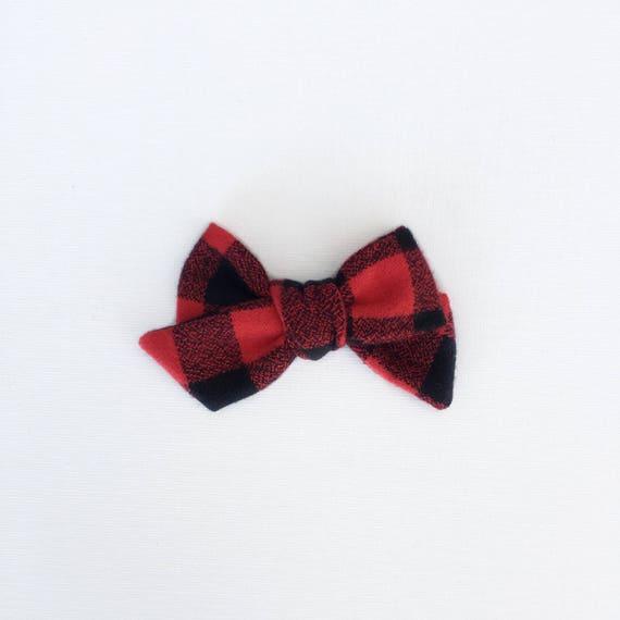 Dandelion>> buffalo plaid tartan flannel hand-tied bow | fall classic hair bow | nude nylon headband