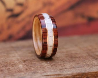 Elk Antler Wedding Ring - Men's Wooden Ring Wood Anniversary Gifts for Men Engagement Ring for Men Bentwood Ring Burmese Rosewood