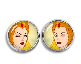 She Ra Stud Earrings She-Ra earrings 12mm He-Man Comics Fandom Jewelry Cosplay Fangirl Fanboy