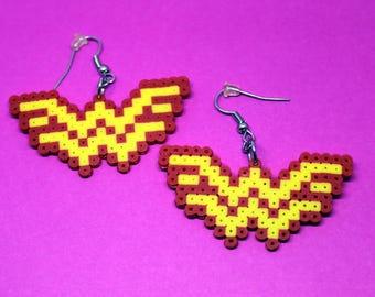Wonder Woman Earrings - Mini Perler Beads