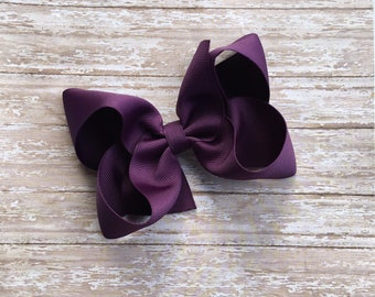 Grape Boutique hair bow, hair bows, solid color hair bows, large hair bows, Thanksgiving hair bows, christmas hair bow, purple bows