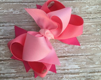 Double stacked hair bows, big hair bows, pink hair bows, hot pink hair bows, valentines hair bows, double stacked pink hair bows,