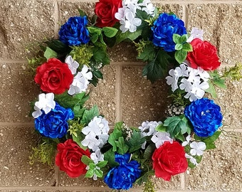 "24"" Rose Peony Hydrangea Wreath Patriotic Wreath  Presidents' Day's Gift Decoration"