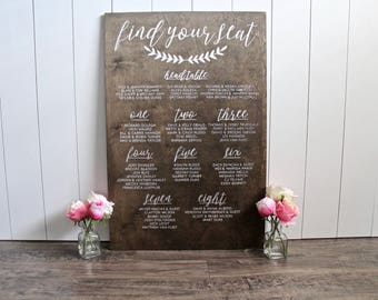 Wedding Seating Chart - Seating Plan - Seating Chart Wood - Wooden Wedding Signs - Find Your Seat