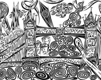 Black and white print of  'Jumbled' London