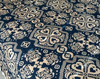 """Jacquard Woven Coverlet Signed and Dated 1833, traditional dark Navy and Ecru. 92"""" x 82"""" - Great shape, enjoy a piece of history!"""