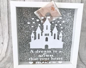 Disney Saving Fund Money Box Frame Silver glitter background princess baby girl  sc 1 st  Etsy & Money box frame   Etsy Aboutintivar.Com