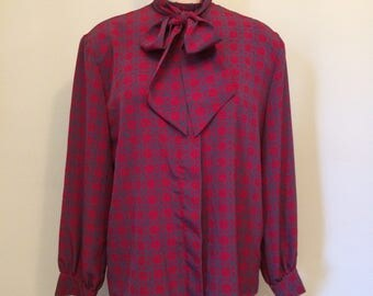 Burgundy and Gray Pattern Button Down Blouse with Necktie | Pendleton | Made in the USA | Size Large 12
