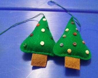 Hand sewed Christmas trees handmade to count Christmas ornament buttons may vary