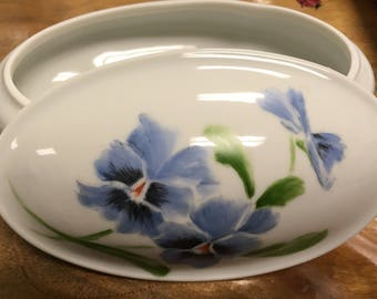 Hand painted oval porcelain box with wild violets