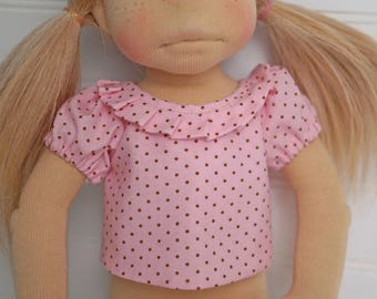 Pink Dot DOLL SHIRT with ruffled collar