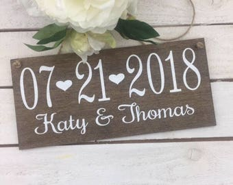 """Wedding Date Sign-Photography Prop Sign-12""""x 5.5 """" Rustic Sign-Wedding Names And Date Sign-Save The Date Sign-Heart Wedding Sign"""
