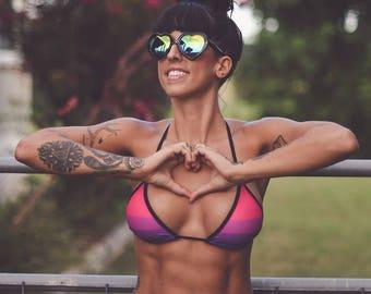 Nova Bikini Set - Purple and Pink String Bikini - Brazilian Bikini - sexy bikini - cheeky bikini - triangle top