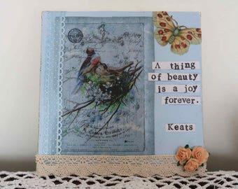 SALE Keats Canvas Quote  Wall Art  John Keats  Handmade